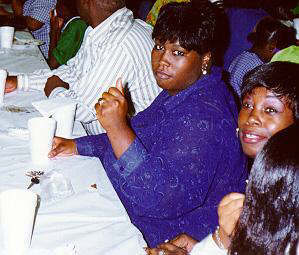 Cousin Jaquelyn Robinson-Gray enjoys the 1999 Reunion Banquet