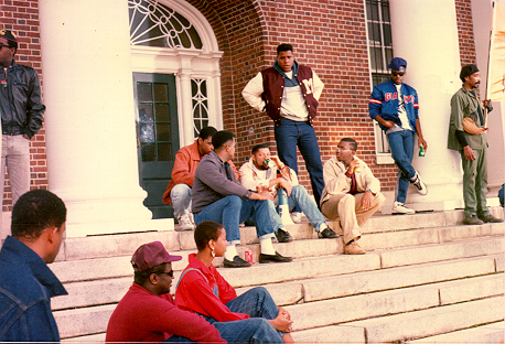 Laurance Fishburne & others on the set of 'School Daze'